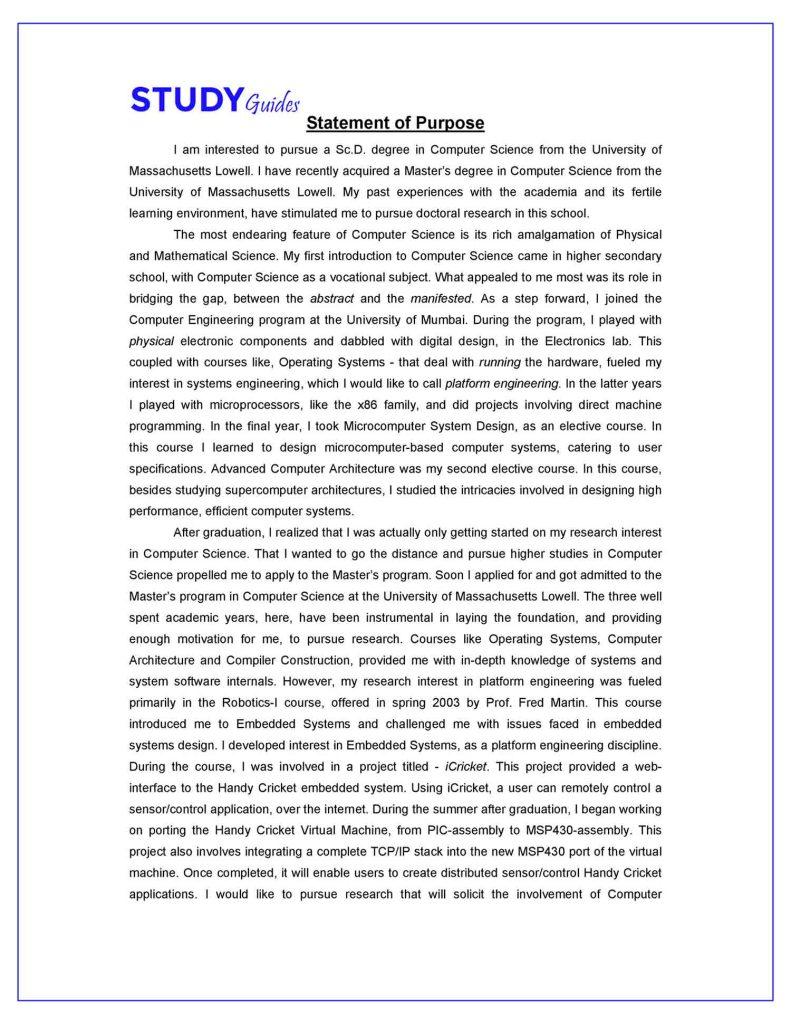 Statement of Purpose Sample in English